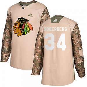 Men's Chicago Blackhawks Carl Soderberg Adidas Authentic Veterans Day Practice Jersey - Camo