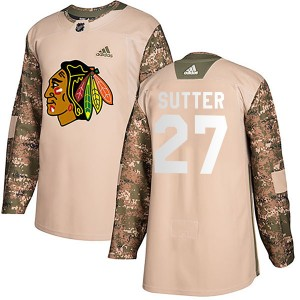 Men's Chicago Blackhawks Darryl Sutter Adidas Authentic Veterans Day Practice Jersey - Camo