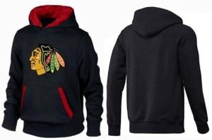 Men's Chicago Blackhawks Big & Tall Logo Pullover Hoodie - - Black/Red