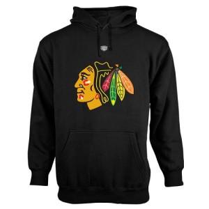 Men's Chicago Blackhawks Old Time Hockey Big Logo with Crest Pullover Hoodie ¨C - Black