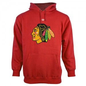 Men's Chicago Blackhawks Old Time Hockey Big Logo with Crest Pullover Hoodie ¨C - Red