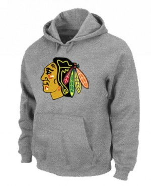 Men's Chicago Blackhawks Pullover Hoodie - - Grey