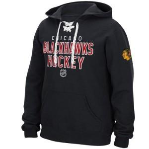 Men's Chicago Blackhawks Reebok Stitch Em Up Lace Hoodie - - Black