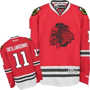 Men's Chicago Blackhawks Andrew Desjardins Reebok Authentic Skull Jersey - Red