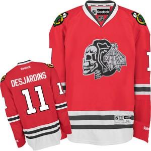 Men's Chicago Blackhawks Andrew Desjardins Reebok Authentic Red Skull Jersey - White