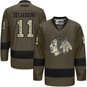 Men's Chicago Blackhawks Andrew Desjardins Reebok Premier Salute to Service Jersey - Green