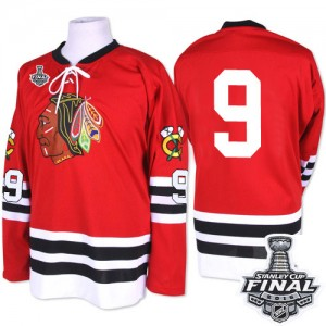 Men's Chicago Blackhawks Bobby Hull Mitchell and Ness Premier 1960-61 Throwback 2015 Stanley Cup Patch Jersey - Red