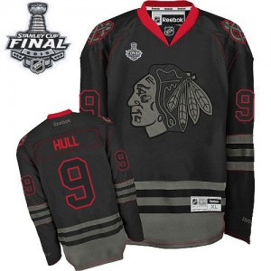 Men's Chicago Blackhawks Bobby Hull Reebok Authentic 2015 Stanley Cup Patch Jersey - Black Ice