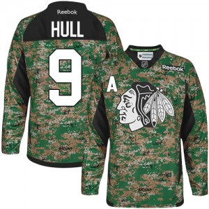 Men's Chicago Blackhawks Bobby Hull Reebok Authentic Veterans Day Practice Jersey - Camo