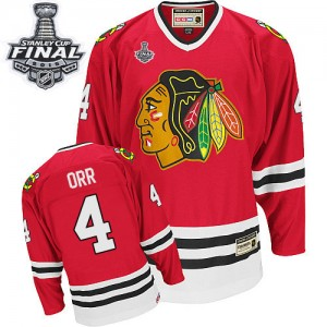 Men's Chicago Blackhawks Bobby Orr CCM Authentic Throwback 2015 Stanley Cup Patch Jersey - Red