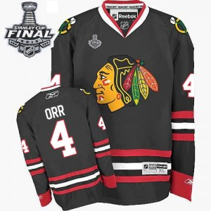 Men's Chicago Blackhawks Bobby Orr Reebok Authentic Third 2015 Stanley Cup Patch Jersey - Black