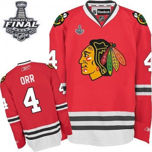 Men's Chicago Blackhawks Bobby Orr Reebok Authentic Home 2015 Stanley Cup Patch Jersey - Red