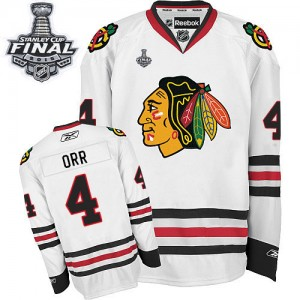 Men's Chicago Blackhawks Bobby Orr Reebok Authentic Away 2015 Stanley Cup Patch Jersey - White
