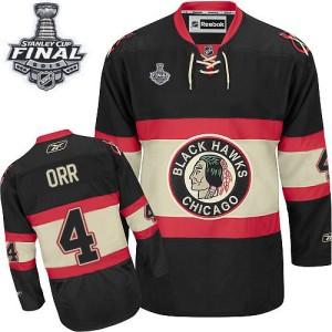 Men's Chicago Blackhawks Bobby Orr Reebok Premier New Third 2015 Stanley Cup Patch Jersey - Black