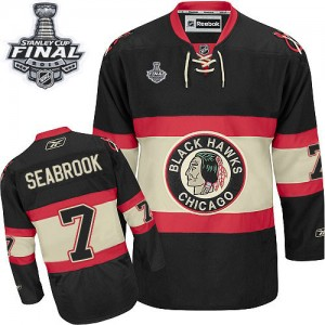 Men's Chicago Blackhawks Brent Seabrook Reebok Authentic New Third 2015 Stanley Cup Patch Jersey - Black