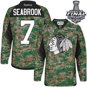 Men's Chicago Blackhawks Brent Seabrook Reebok Authentic Veterans Day Practice 2015 Stanley Cup Patch Jersey - Camo