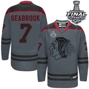 Men's Chicago Blackhawks Brent Seabrook Reebok Authentic Cross Check Fashion 2015 Stanley Cup Patch Jersey - Charcoal