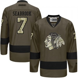 Men's Chicago Blackhawks Brent Seabrook Reebok Authentic Salute to Service Jersey - Green