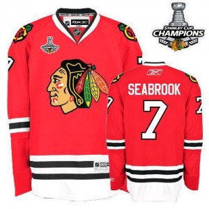Men's Chicago Blackhawks Brent Seabrook Reebok Authentic 2013 Stanley Cup Champions Jersey - Red