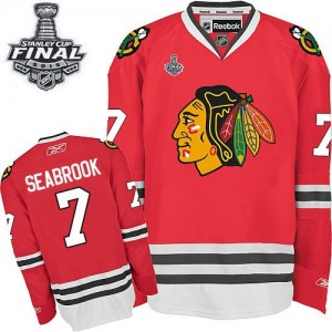 Men's Chicago Blackhawks Brent Seabrook Reebok Authentic Home 2015 Stanley Cup Patch Jersey - Red