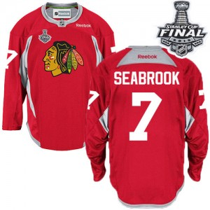 Men's Chicago Blackhawks Brent Seabrook Reebok Authentic Practice 2015 Stanley Cup Patch Jersey - Red