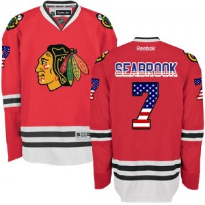 Men's Chicago Blackhawks Brent Seabrook Reebok Authentic USA Flag Fashion Jersey - Red