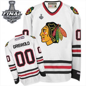 Men's Chicago Blackhawks Clark Griswold CCM Authentic Throwback 2015 Stanley Cup Patch Jersey - White