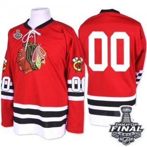 Men's Chicago Blackhawks Clark Griswold Mitchell and Ness Premier 1960-61 Throwback 2015 Stanley Cup Patch Jersey - Red