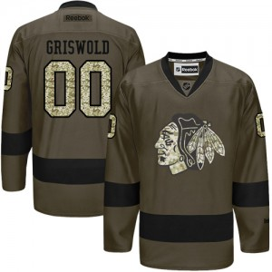 Men's Chicago Blackhawks Clark Griswold Reebok Authentic Salute to Service Jersey - Green