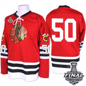 Men's Chicago Blackhawks Corey Crawford Mitchell and Ness Authentic 1960-61 Throwback 2015 Stanley Cup Patch Jersey - Red