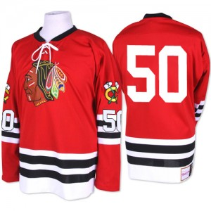 Men's Chicago Blackhawks Corey Crawford Mitchell and Ness Authentic 1960-61 Throwback Jersey - Red