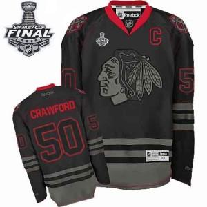 Men's Chicago Blackhawks Corey Crawford Reebok Authentic 2015 Stanley Cup Patch Jersey - Black Ice