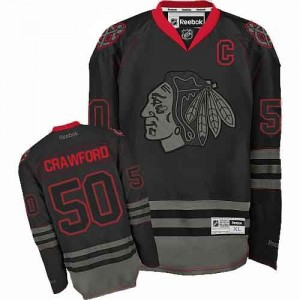 Men's Chicago Blackhawks Corey Crawford Reebok Authentic Jersey - Black Ice