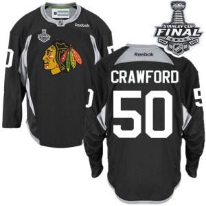 Men's Chicago Blackhawks Corey Crawford Reebok Authentic Practice 2015 Stanley Cup Patch Jersey - Black