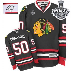 Men's Chicago Blackhawks Corey Crawford Reebok Authentic Third Autographed 2015 Stanley Cup Patch Jersey - Black