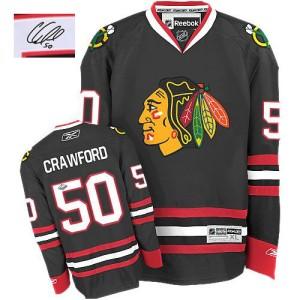 Men's Chicago Blackhawks Corey Crawford Reebok Authentic Third Autographed Jersey - Black