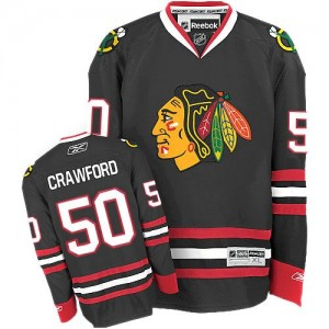Men's Chicago Blackhawks Corey Crawford Reebok Authentic Third Jersey - Black