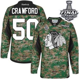 Men's Chicago Blackhawks Corey Crawford Reebok Authentic Veterans Day Practice 2015 Stanley Cup Patch Jersey - Camo
