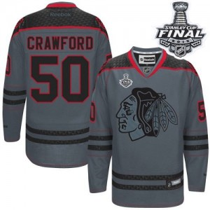 Men's Chicago Blackhawks Corey Crawford Reebok Authentic Cross Check Fashion 2015 Stanley Cup Patch Jersey - Charcoal