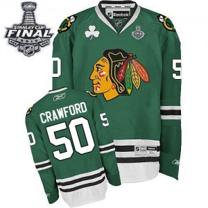 Men's Chicago Blackhawks Corey Crawford Reebok Authentic 2015 Stanley Cup Patch Jersey - Green