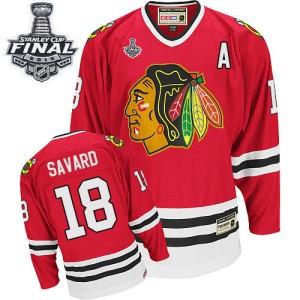 Men's Chicago Blackhawks Denis Savard CCM Premier Throwback 2015 Stanley Cup Patch Jersey - Red