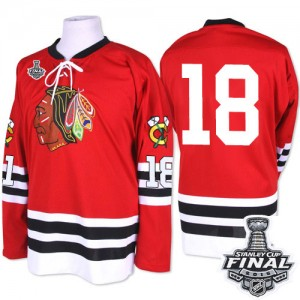Men's Chicago Blackhawks Denis Savard Mitchell and Ness Premier 1960-61 Throwback 2015 Stanley Cup Patch Jersey - Red