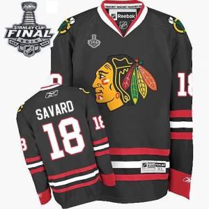 Men's Chicago Blackhawks Denis Savard Reebok Authentic Third 2015 Stanley Cup Patch Jersey - Black