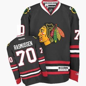 Men's Chicago Blackhawks Dennis Rasmussen Reebok Authentic Third Jersey - Black