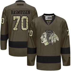 Men's Chicago Blackhawks Dennis Rasmussen Reebok Authentic Salute to Service Jersey - Green