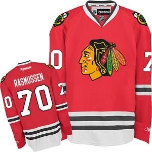 Men's Chicago Blackhawks Dennis Rasmussen Reebok Authentic Home Jersey - Red