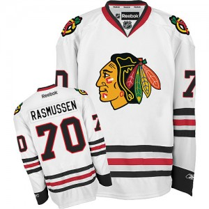 Men's Chicago Blackhawks Dennis Rasmussen Reebok Authentic Away Jersey - White