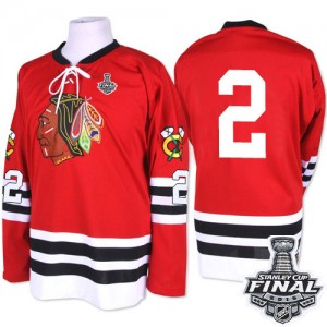 Men's Chicago Blackhawks Duncan Keith Mitchell and Ness Premier 1960-61 Throwback 2015 Stanley Cup Patch Jersey - Red
