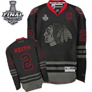 Men's Chicago Blackhawks Duncan Keith Reebok Authentic 2015 Stanley Cup Patch Jersey - Black Ice