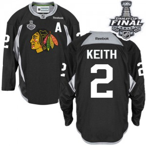 Men's Chicago Blackhawks Duncan Keith Reebok Authentic Practice 2015 Stanley Cup Patch Jersey - Black